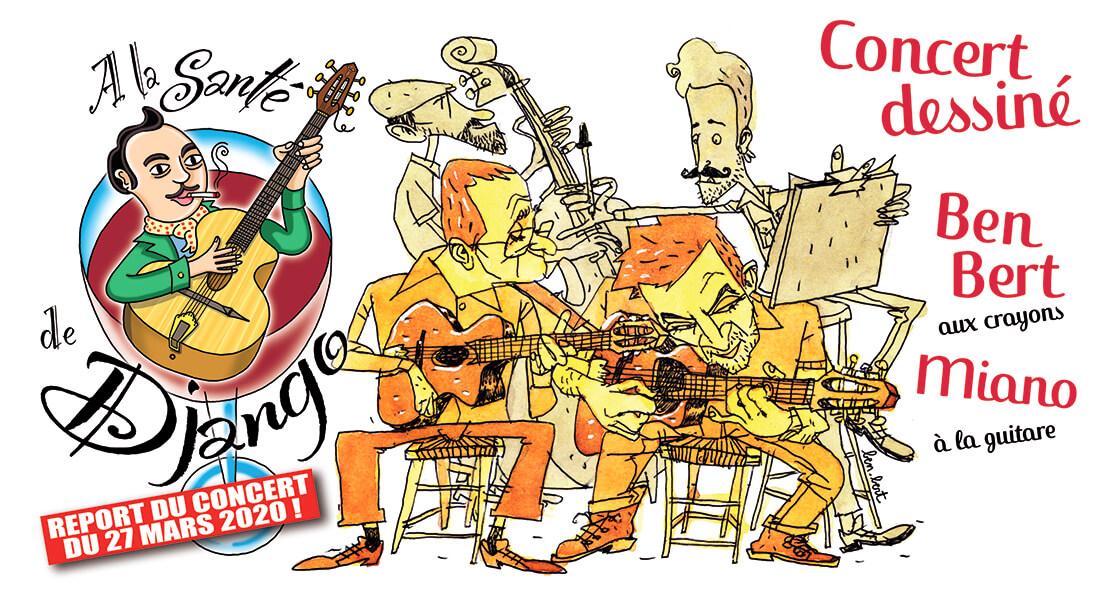 A la santé de Django - BEN BERT aux crayons et MIANO à la guitare